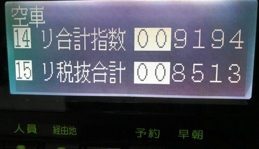 台風直撃予想で夜は大閑散だったが昼間繋がって売上を確保できた水曜日乗務【2018/08/08(水)の乗務記録】