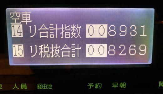 2019年初の税抜き8万円超え達成した三連休前の金曜日乗務。夜は忙しくなると予想したが・・・【2019/01/11(金)の乗務記録】