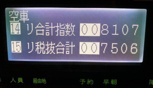 給料日前の土曜日乗務。低単価地獄にハマって久々の営業回数60超え(汗)【2019/02/23(土)の乗務記録】