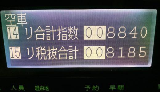 一日中雨だった月末の木曜日乗務。青タン片道仕事が多くてあまり伸びず【2019/02/28(木)の乗務記録】